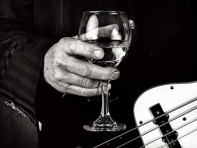 Guitar Player And A Glass Of Wine Art Print