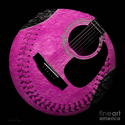 Guitar Raspberry Baseball Print by Andee Design