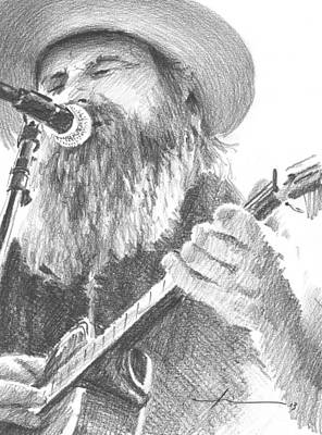 Drawing - Guitar Singer With Beard Pencil Portrait by Mike Theuer