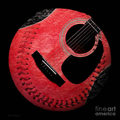 Guitar Strawberry Baseball Art Print by Andee Design