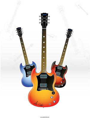 Vector Digital Art - Guitar Style by Lee Wolf Winter