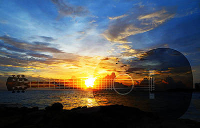 Guitar Sunset - Guitars By Sharon Cummings Print by Sharon Cummings