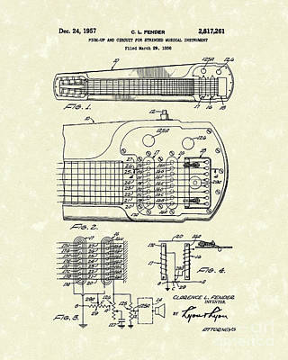 Guitar Drawing - Guitar System 1957 Patent Art by Prior Art Design
