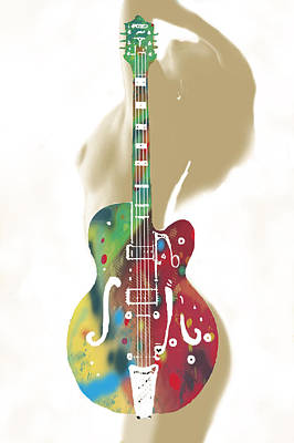 Abstract Pop Drawing - Guitar With Nude -  Stylised Drawing Art Poster by Kim Wang