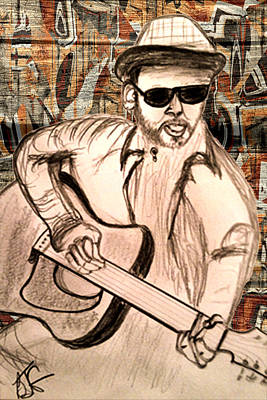 Drawing - Guitarist by Barbara Giordano