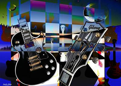 Surrealism Digital Art Rights Managed Images - Guitars and Two Moons Royalty-Free Image by Sarah Niebank