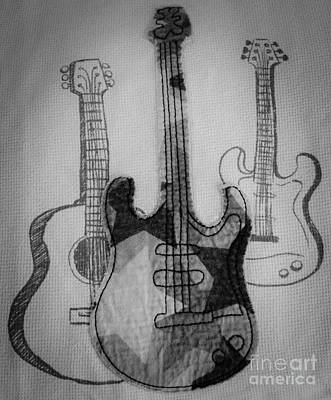 Chord Mixed Media - Guitars by Andrea Anderegg