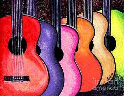 Colored Pencil Painting - Guitars by Elaan Yefchak