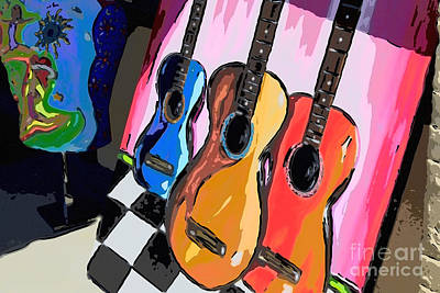 Digital Art - Guitars by Jill Lang