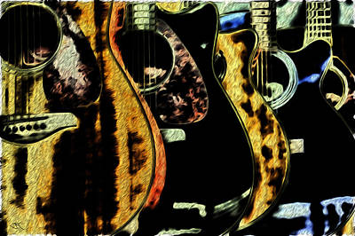 Digital Art - Guitars by John Monteath