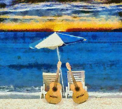 Guitars On The Beach At Sunset Art Print by Dan Sproul
