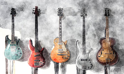 Mixed Media - Guitars On The Wall by Arline Wagner