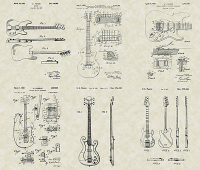 Bass Player Drawing - Guitars Patent Collection by PatentsAsArt