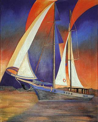 Print featuring the painting Gulet Under Sail by Tracey Harrington-Simpson