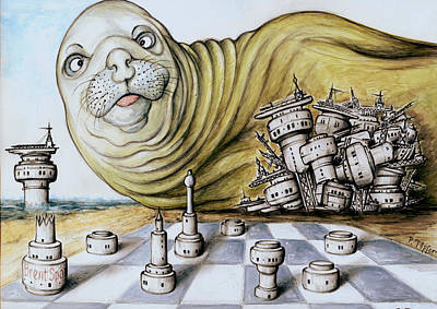 Drawing - Gulf Coast Chess - Cartoon Art by Peter Potter