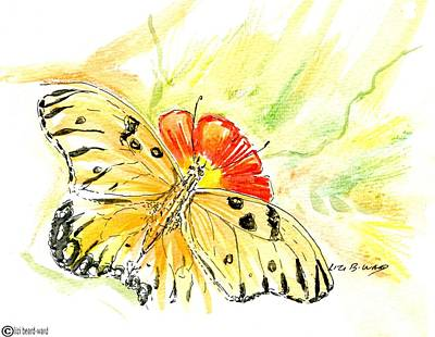 Drawing - Gulf Fritillary In Water Color And Ink by Lizi Beard-Ward