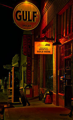 Gas Pump Photograph - Gulf Oil Night Vertical by Dave Dilli