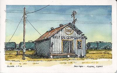 Art Print featuring the mixed media Gulf Oil Warehouse by Tim Oliver