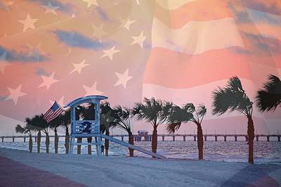 Digital Art - Gulf Shores Beach With Flag by Michael Thomas