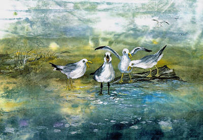 Mixed Media - Gull Quartet by Nancy Gorr