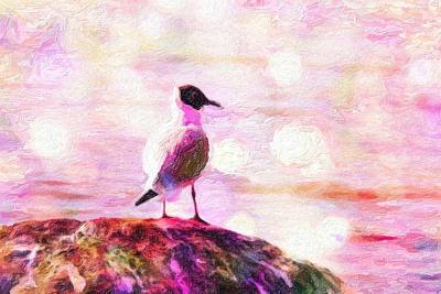 Gull Scouts From Stone Art Print by Tommytechno Sweden