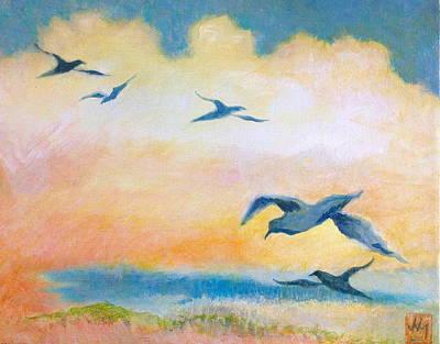 Gulls At Sunset Art Print by Julia Miller
