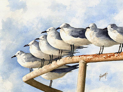 Sea Gull Wall Art - Painting - Gulls by Sam Sidders