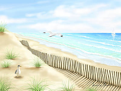Seascape Digital Painting - Gulls by Veronica Minozzi