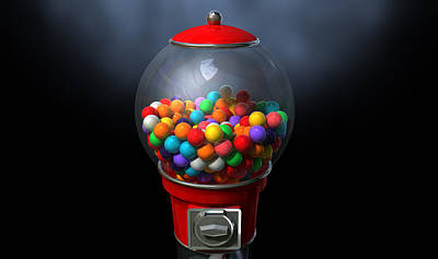 Gumball Dispensing Machine Dark Art Print by Allan Swart