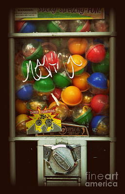 Photograph - Series - Gumball Silver Bars With Graffiti - Iconic New York City by Miriam Danar