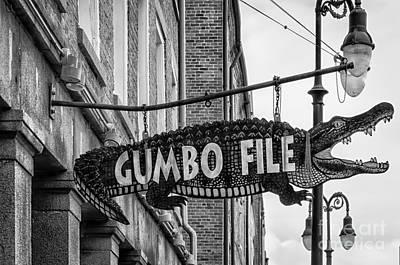 Photograph - Gumbo File Alligator - Bw by Kathleen K Parker