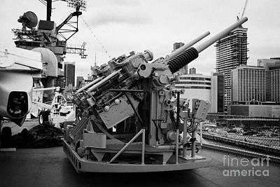 Gun Emplacements On The Flight Deck Of The Uss Intrepid At The Intrepid Sea Air Space Museum Art Print by Joe Fox