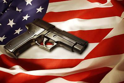 Gun On Flag Art Print