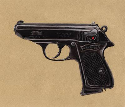 Drawing - Gun - Pistol - Walther Ppk by Anastasiya Malakhova