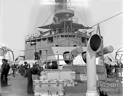 Photograph - aft gun turret of the USS Maine BB-10 circa 1908 by California Views Mr Pat Hathaway Archives