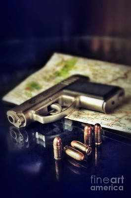 Glass Table Reflection Photograph - Gun With Bullets And Map by Jill Battaglia
