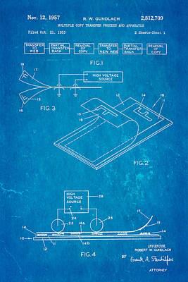 Copier Photograph - Gundlach Photocopier Patent Art 1957 Blueprint by Ian Monk
