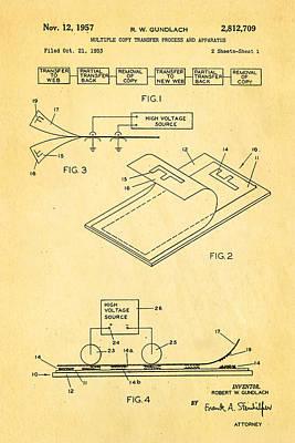 Copier Photograph - Gundlach Photocopier Patent Art 1957 by Ian Monk
