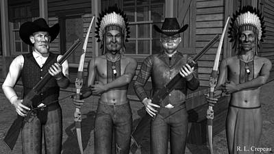 Gunfight Digital Art - Gunfight At The Okey Dokey Corral - Black And White by Robert Crepeau