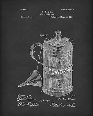 Drawing - Gunpowder Can 1890 Patent Art Black by Prior Art Design