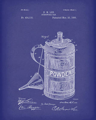 Drawing - Gunpowder Can 1890 Patent Art Blue by Prior Art Design