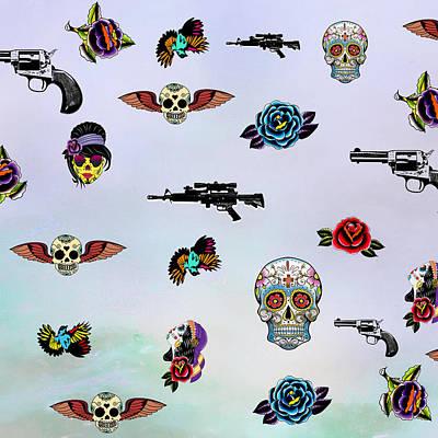 Abstract Realism Digital Art - Guns And Roses  by Mark Ashkenazi