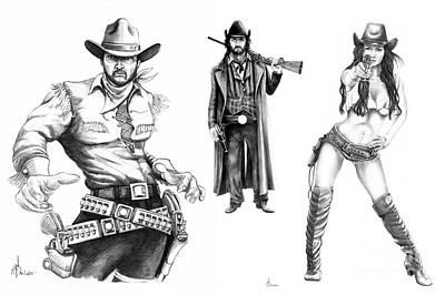 Outlaw Drawing - Gunslingers by Murphy Elliott