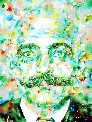 Spiritual Teacher Painting - Gurdjieff- Watercolor Portrait by Fabrizio Cassetta