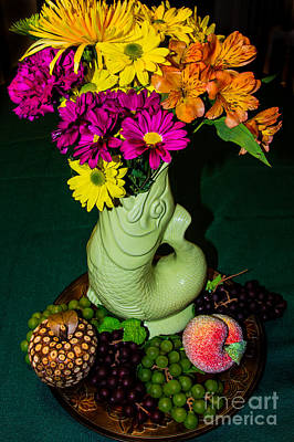 Still Life With Fish Photograph - Gurgle Vase With Flowers by Kathy Liebrum Bailey