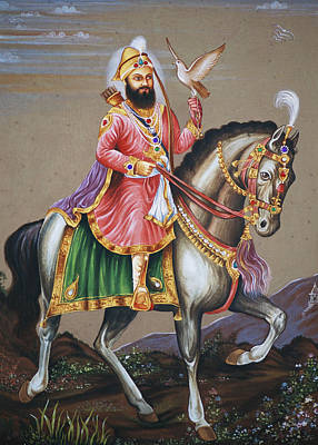 Indian Guru Painting - Guru Gobind Singh Riding Horse by Dinodia