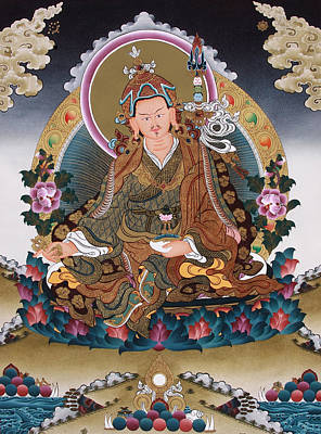 Buddhist Painting - Guru Rinpoche Thangka Art Canvas by Ts