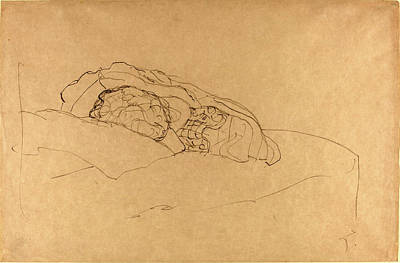 Klimt Drawing - Gustav Klimt, Curled Up Girl On Bed, Austrian by Quint Lox