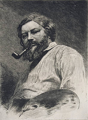 Artist At Work Drawing - Gustave Courbet by Etienne Gabriel Bocourt