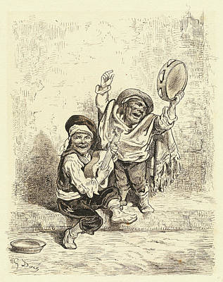Wash Drawing - Gustave Doré, French 1832-1883, Gypsy Children by Litz Collection